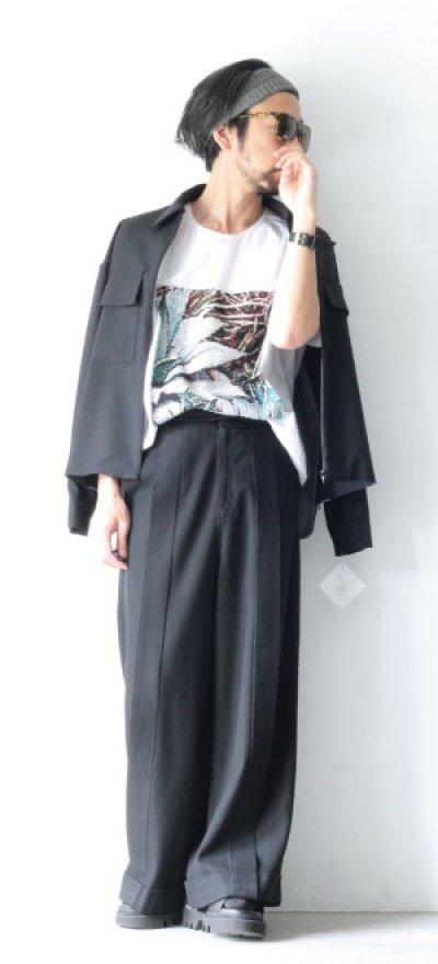画像1: ETHOSENS / スーツ地ジップワークシャツ