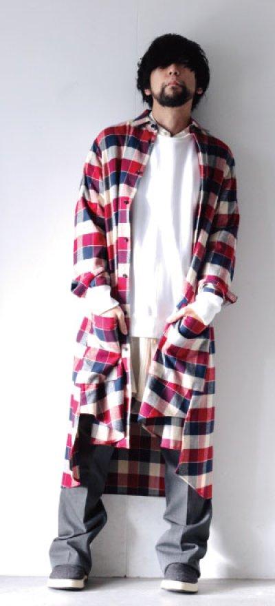 画像1: S I S E / チェックロングシャツジャケット