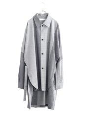 画像1: ETHOSENS / バイカラーオーバーサイズシャツ (1)