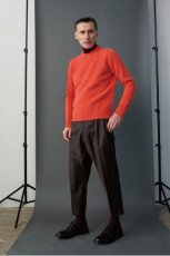 画像2: STUDIO NICHOLSON / ITALIAN WOOL CHECK MENS DOUBLE PLEAT TAPERED PANT (2)