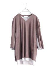 画像1: ETHOSENS / レイヤーVネックTシャツ (1)