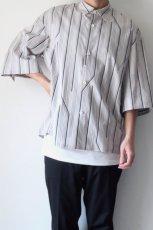 画像5: ETHOSENS / ツイストストライプワイドスリーブシャツ (5)