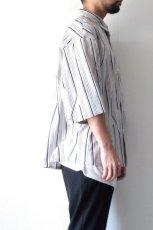 画像8: ETHOSENS / ツイストストライプワイドスリーブシャツ (8)