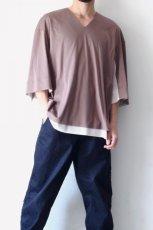 画像4: ETHOSENS / レイヤーVネックTシャツ (4)