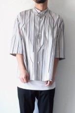 画像4: ETHOSENS / ツイストストライプワイドスリーブシャツ (4)