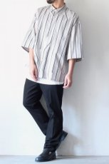 画像3: ETHOSENS / ツイストストライプワイドスリーブシャツ (3)