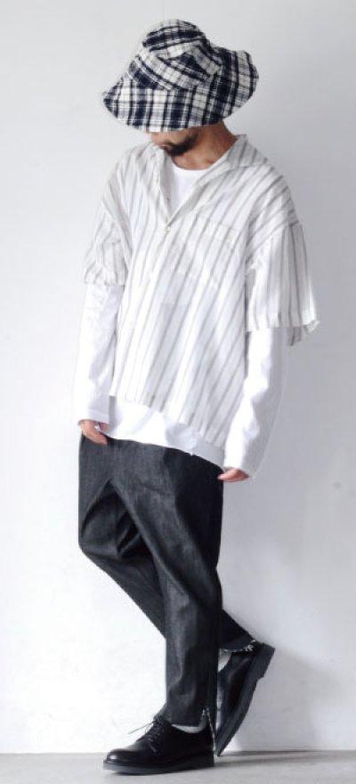 画像1: UNDECORATED / ストライプ半袖シャツ