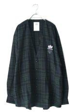 画像1: STOF / チェックノーカラーシャツ (1)