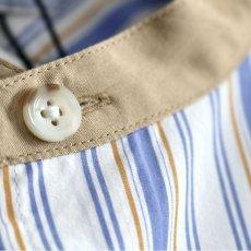 画像16: TAUPE /マルチストライプクレリックバンドカラーシャツ (16)