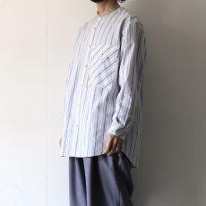 画像13: TAUPE /マルチストライプクレリックバンドカラーシャツ (13)
