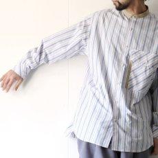 画像14: TAUPE /マルチストライプクレリックバンドカラーシャツ (14)