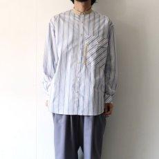 画像12: TAUPE /マルチストライプクレリックバンドカラーシャツ (12)