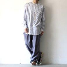 画像11: TAUPE /マルチストライプクレリックバンドカラーシャツ (11)
