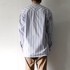画像8: TAUPE /マルチストライプクレリックバンドカラーシャツ (8)