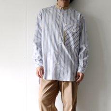 画像9: TAUPE /マルチストライプクレリックバンドカラーシャツ (9)