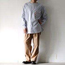 画像10: TAUPE /マルチストライプクレリックバンドカラーシャツ (10)