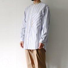 画像6: TAUPE /マルチストライプクレリックバンドカラーシャツ (6)