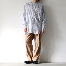 画像3: TAUPE /マルチストライプクレリックバンドカラーシャツ (3)