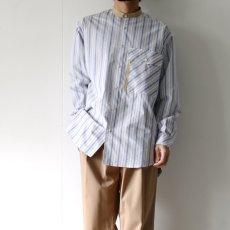 画像5: TAUPE /マルチストライプクレリックバンドカラーシャツ (5)