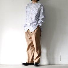 画像4: TAUPE /マルチストライプクレリックバンドカラーシャツ (4)
