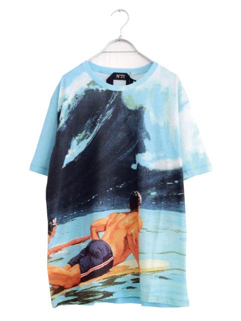 画像1: N°21 / サーフィンプリントTシャツ (1)
