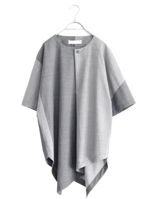 画像1: ETHOSENS / アシメバイカラー半袖プルオーバー (1)