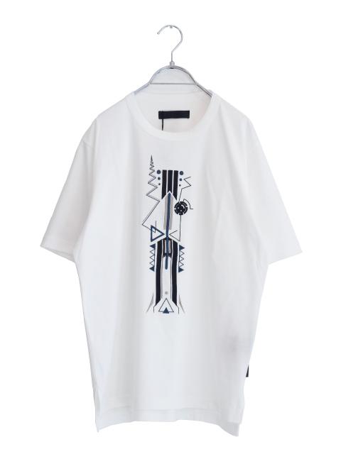 画像1: SUFFICIENT / サイドスリット刺繍Tシャツ (1)