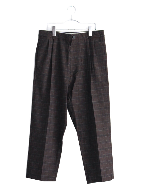 画像1: STUDIO NICHOLSON / ITALIAN WOOL CHECK MENS DOUBLE PLEAT TAPERED PANT (1)