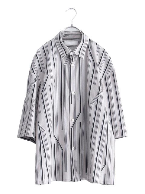 画像1: ETHOSENS / ツイストストライプワイドスリーブシャツ (1)