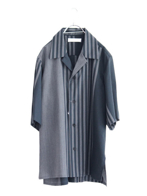 画像1: ETHOSENS / パネルストライプ半袖シャツ (1)