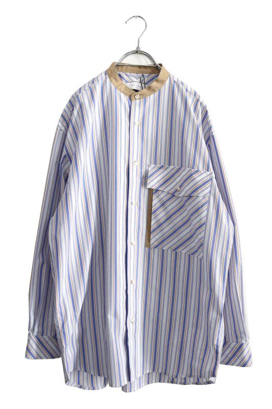 画像1: TAUPE /マルチストライプクレリックバンドカラーシャツ (1)