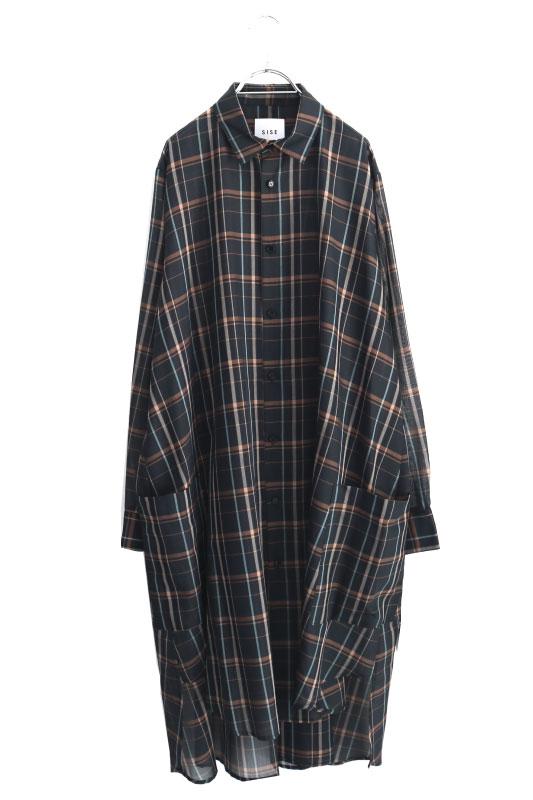 画像1: SISE / ロングチェックシャツ (1)